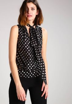 """Blouse - black/multi. Outer fabric material:100% polyester. Total length:24.5 """" (Size 10). Collar:Mandarin collar. Details:bust darts. Back width:14.0 """" (Size 10). Length:standard. Pattern:polka dot. Fit:regular. Neckline:Low V-neck. Our model's height:Our model is 71...."""