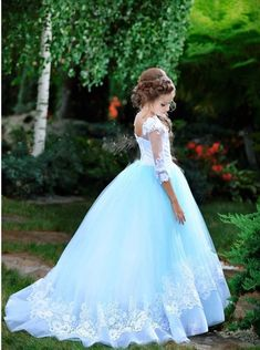 Flower girl dress white and blue dress tulle flower girl dresses Baby dress with premium lace flower Little Girl Wedding Dresses, White Flower Girl Dresses, Princess Flower Girl Dresses, Lace Flower Girls, Flower Girl Updo, Lace Flowers, White Flowers, Anna Lu, Pageant Dresses