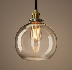 "$96, Restoration hardware, 8"" diameter, 20th C. Factory Filament Clear Glass Café Pendant"