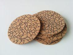 Coasters - Triangle print - Geometric pattern - Handmade by SweetAndMellow #Handmade #SweetAndMellow #Coaster #Cork #Triangle #Geometric