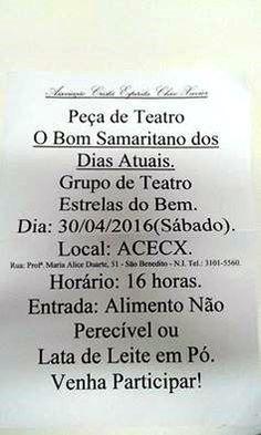 Associação Cristã Espírita Chico Xavier Convida para a sua peça de teatro O Bom Samaritano dos Dias Atuais - Nova Iguaçu - RJ - http://www.agendaespiritabrasil.com.br/2016/04/29/associacao-crista-espirita-chico-xavier-convida-para-sua-peca-de-teatro-o-bom-samaritano-dos-dias-atuais-nova-iguacu-rj/