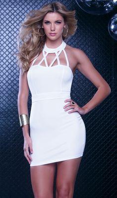 7dabf0c72466 White Elegant Sleeveless Criss Cross Halter Club Dress  6.66 White Halter  Dress
