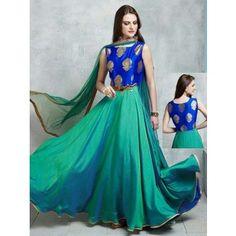 Shop Green cotton silk wedding wear designer anarkali salwar kameez online from India. Indian Attire, Indian Wear, Indian Dresses, Indian Outfits, Mode Bollywood, Anarkali Dress, Long Anarkali, Anarkali Suits, Punjabi Suits