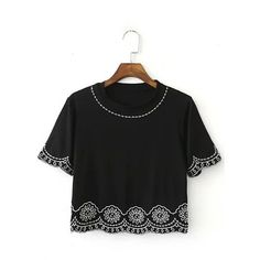 Yoins Black Embroidery Short Sleeve Cropped T-shirt (€16) ❤ liked on Polyvore featuring tops, t-shirts, black, shirts & tops, short sleeve shirts, crop t shirt, short-sleeve shirt, embroidery t shirts and short sleeve crop top