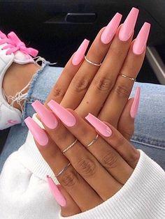 Pink Acrylic Nails, Acrylic Nail Designs, Nail Art Designs, Glue On Nails, Gel Nails, Coffin Nails, Nagellack Design, Dipped Nails, Nagel Gel