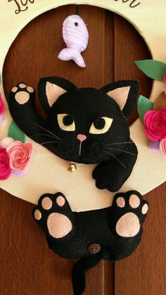 - Lilly is Love Rock Crafts, Felt Crafts, Diy And Crafts, Felt Animal Patterns, Stuffed Animal Patterns, Christmas Crafts For Kids, Felt Christmas, Cat Template, Cat Pattern