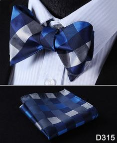 417be77edd7ba Plaid Check Bow Tie 100%Silk Woven Men Butterfly Self Bow Tie BowTie Pocket  Square