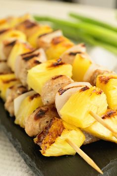 Chicken Pineapple Kebabs ~ Quick and Easy Marinated Skewrs that are the Perfect Combination of Sweet and Tangy! ~ https://www.julieseatsandtreats.com