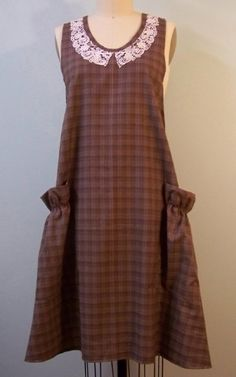 Warm Winter brown plaid full apron