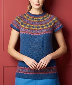 Mary Henderson has combined her two favourite styles, Fair Isle and lace, to create her yoked tunic. It's knitted from the top down, with a stranded colourwork yoke, and a lace panel on the centre front for added interest. Fair Isle Knitting Patterns, Sweater Knitting Patterns, Knitting Stitches, Knitting Ideas, Tunic Sweater, Pullover Sweaters, Different Stitches, Knit Crochet, Short Sleeve Dresses
