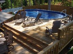 Above Ground Pool Patio House.Mobile Home Back Porches With Above Ground Pool Deck . Attractive Above Ground Pool Designs And Patio Ideas. Home and Family Oval Swimming Pool, Above Ground Swimming Pools, Swimming Pool Designs, In Ground Pools, Oberirdische Pools, Pools Inground, Lap Pools, Indoor Pools, Pool Deck Plans