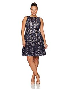 London Times Women's Plus Size Flower Bloom Lace Fit and Flare in Navy $128 Nordstrom