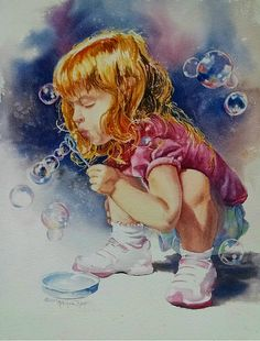 Blowing Bubbles by Michele Thorp Watercolor Projects, Watercolor Sketch, Watercolor Portraits, Watercolor Paintings, Watercolors, Bubble Drawing, Bubble Painting, Portrait Sketches, Portrait Art