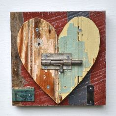 ... heart art primitive shabby chic chippy paint ... elizabeth rosen ...