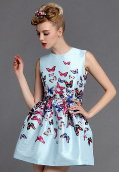 Blue Sleeveless Butterfly Print Flare Dress US$53.33