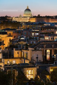 Rome rooftops with the Vatican in the background