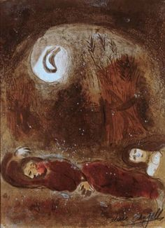 It is night, a dim landscape, with only the moon bathing the land in its light. Boaz is clearly asleep, cradling his head on his arm, but Ruth is not. Her eyes are open, her breasts visible and the expression on her face shows that she, God bless her, is up to mischief. It is easy enough to paint a scene in broad daylight, but here the landscape is shrouded in darkness.