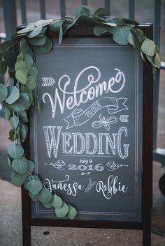 Chalkboard Wedding Welcome Sign // rustic, ecalyptus leaves, greenery, garland, pantone sweetchic events, chicago wedding planner, chicago wedding, prairie production wedding, rustic wedding, loft wedding