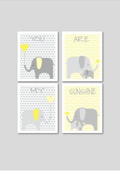 Elephants printable nursery art, instant download, elephant nursery decor, grey and yellow nursery decor, hearts nursery art. £12.00, via Etsy.
