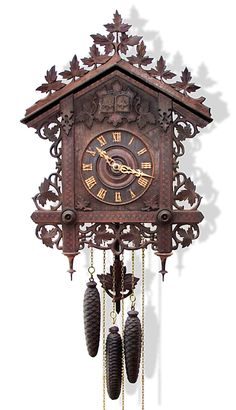 A Century Carved And Inlaid Cuckoo And Quail Quarter Striking Wall Clock, Black Forest, Germany. This big wall clock with rustic Big Wall Clocks, Cool Clocks, Coo Coo Clock, Unusual Clocks, Clock Tattoo Design, Boutique Deco, Antique Clocks, Antique Watches, Clock Decor