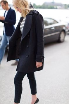 Oversized coat and skinny jeans