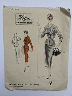 Find many great new & used options and get the best deals for 1953 Vintage VOGUE COUTURIER DESIGN 676 Suit Dress Size 16 Bust 34 Hip 37 CUT at the best online prices at eBay! Free shipping for many products! Vintage Vogue Patterns, Wedding Dress Patterns, Size 16 Dresses, Cool Suits, Pattern Design, Free Shipping, Best Deals, Ebay, Products