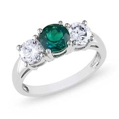 Lab-Created Emerald and White Sapphire Three Stone Ring in 10K White Gold