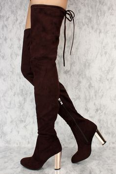 4f4ad15ee5e9 Brown Slim Pointy Toe Thigh High Boots Metallic Chunky Heel Faux Suede