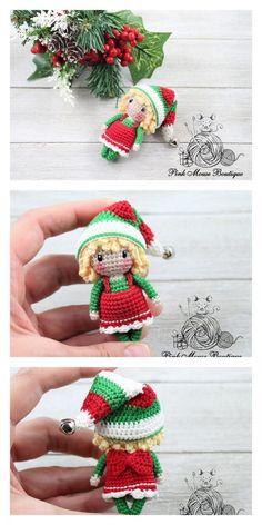 Crochet Crafts, Crochet Dolls, Crochet Projects, Free Crochet, Crochet Christmas Decorations, Holiday Crochet, Free Christmas Crochet Patterns, Doll Amigurumi Free Pattern, Amigurumi Doll