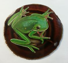 Hand painted green frog on agate slice on Etsy, $82.08