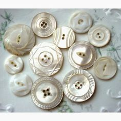 Antique Carved Mother of Pearl Buttons 12 Med to Large Assorted | AestheticsAndOldLace - Supplies on ArtFire