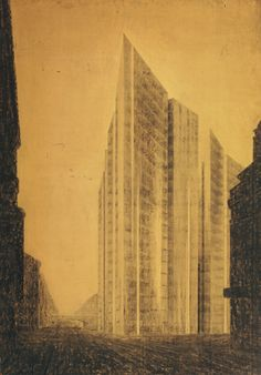 Ludwig Mies van der Rohe. Friedrichstrasse Skyscraper Project, Berlin-Mitte, Germany, Exterior perspective from north. 1921