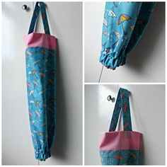 Carrier Bag Holder Grocery Organizer Plastic Storage Home Blue Umbrellas Pink Polka Dots Kitchen
