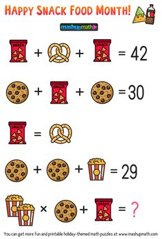 Free Math Brain Teaser Puzzles for Kids in Grades to Celebrate Snack Food Month! puzzles for kids brain teasers Math Puzzles Brain Teasers, Math Logic Puzzles, Math Quizzes, Brain Teasers For Kids, Kids Math Worksheets, Math Games, Printable Worksheets, Brain Games, Math For Kids