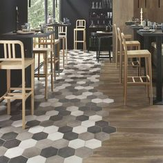 When it comes to interior design materials, the use of tiles is unevitable at some point of planning your home decor. There is a wide variety of Hexagon Tiles Floor Design, Tile Design, Design Design, Deco Restaurant, Refinishing Hardwood Floors, Floor Refinishing, Hexagon Tiles, Room Tiles, Kitchen Flooring