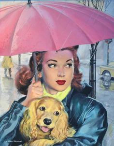Vintage cuteness! A young woman walking outside in the rain with her cocker spaniel.