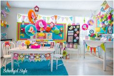 Owl and Birds theme from School Girl Style. Love the bright colors!