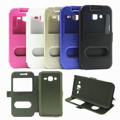 5 Styles Double Window Leather Cover Case For Samsung GALAXY J2 J200 J200F Cell Phone Bags Cases For Samsung Galaxy J3 2015 Skin