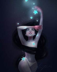 """posted by gloria.shugleva via instagram :   I was so inspired by one of Loish's artworks that I did a little study on it and use it as a reference for new one - """"Sweet dreams"""". I love the glowing stars and dreamy feel, but I still think that there is more to polish, will keep on practicing. 