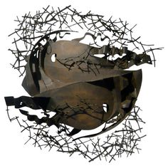 Outstanding Abstract Metal Sculpture | From a unique collection of antique and modern wall-mounted sculptures at https://www.1stdibs.com/furniture/wall-decorations/wall-mounted-sculptures/