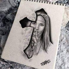 Chicano Style Tattoo, Chicano Tattoos, Body Art Tattoos, Religious Tattoo Sleeves, Religious Tattoos, Chest Tattoo Sketches, Realistic Tattoo Sleeve, Arte Lowrider, Girl Face Tattoo