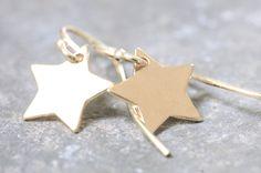 Ohrhänger - Ohrhänger Ohrringe 925Silber vergoldet Stern - ein Designerstück von Werkart bei DaWanda