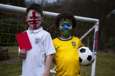 Red card! England and Brazil face paint #worldcup