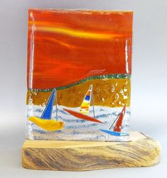 "Fused Glass Panel ""Sailor's Delight"""