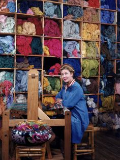 Weaver Dorothy Liebes working on a loom in her studio Charles E. Steinheimer 1947 b Kaite, we need this room on our farm! Loom Weaving, Tapestry Weaving, Hand Weaving, Textiles, Design Textile, Yarn Storage, Yarn Stash, Weaving Projects, Weaving Patterns