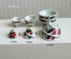 Dollhouse Miniature Porcelain Bowls Asia Chinese by BEADSPAGE