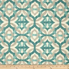 Waverly Tipton Frost from @fabricdotcom  Screen printed on a linen/rayon blend this medium/heavyweight fabric is very versatile and perfect for window treatments (draperies, valances, curtains, and swags), toss pillows and upholstery. Colors include grey, teal and ivory. This fabric has 15,000 double rubs.