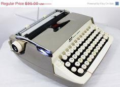 On Sale Vintage Smith Corona Galaxie Portable by Molovintage2, $85.50 Gray