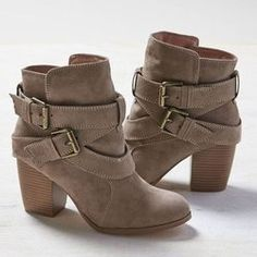 Gray Buckle Chunky Heel Suede Casual Boots