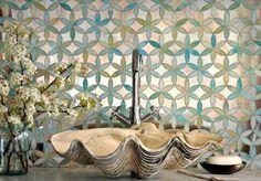 Fiona in Aquamarine jewel glass and Dusk Mirror by Sara Baldwin for New Ravenna Mosaics. | The Decorating Diva, LLC